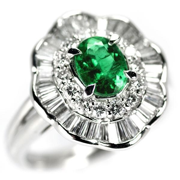 柔らかい Pt850 エメラルド ダイヤモンド リング 0.82ct D1.12ctジュエリーNJ, チューボーマニア b75402be