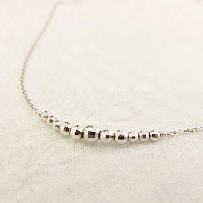 K10WG ミラーボール ラインネックレス|jewelry-watch-bene|03