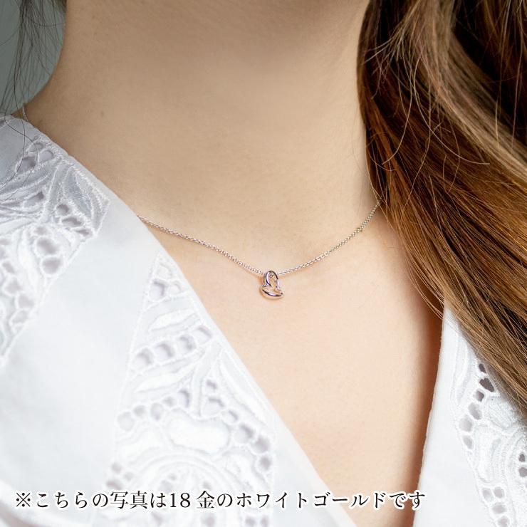 プラチナ製 ダイヤモンド 0.01ct ペンダント ネックレス シンプル ハート 4月誕生石|jewelrycraft-aqua|02