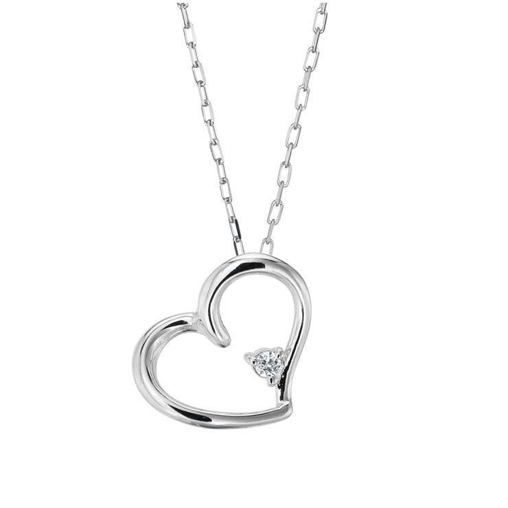 プラチナ製 ダイヤモンド 0.01ct ペンダント ネックレス シンプル ハート 4月誕生石|jewelrycraft-aqua|07