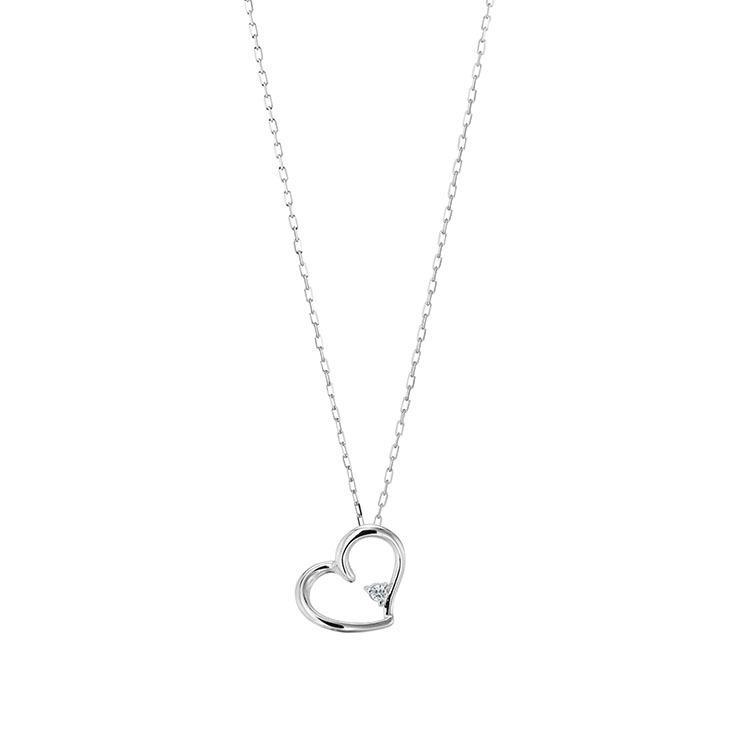 プラチナ製 ダイヤモンド 0.01ct ペンダント ネックレス シンプル ハート 4月誕生石|jewelrycraft-aqua|08