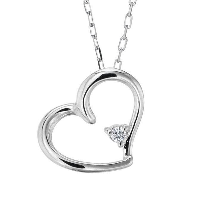 プラチナ製 ダイヤモンド 0.01ct ペンダント ネックレス シンプル ハート 4月誕生石|jewelrycraft-aqua|09