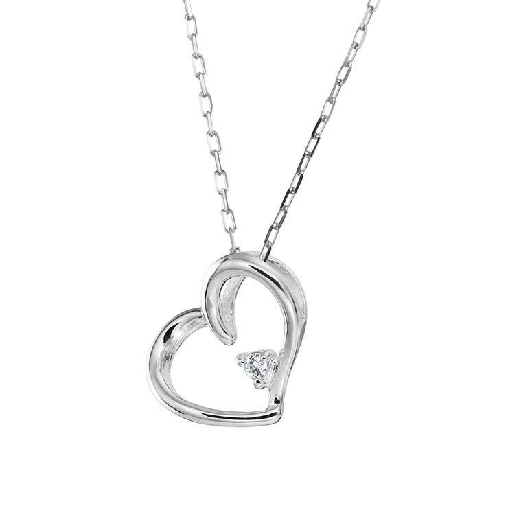 プラチナ製 ダイヤモンド 0.01ct ペンダント ネックレス シンプル ハート 4月誕生石|jewelrycraft-aqua|10