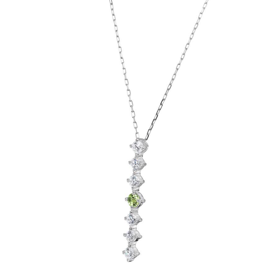 シルバー製 ペリドット ダイヤモンド 0.24ct ペンダント ネックレス 8月誕生石 シンプル ストレートライン jewelrycraft-aqua 11