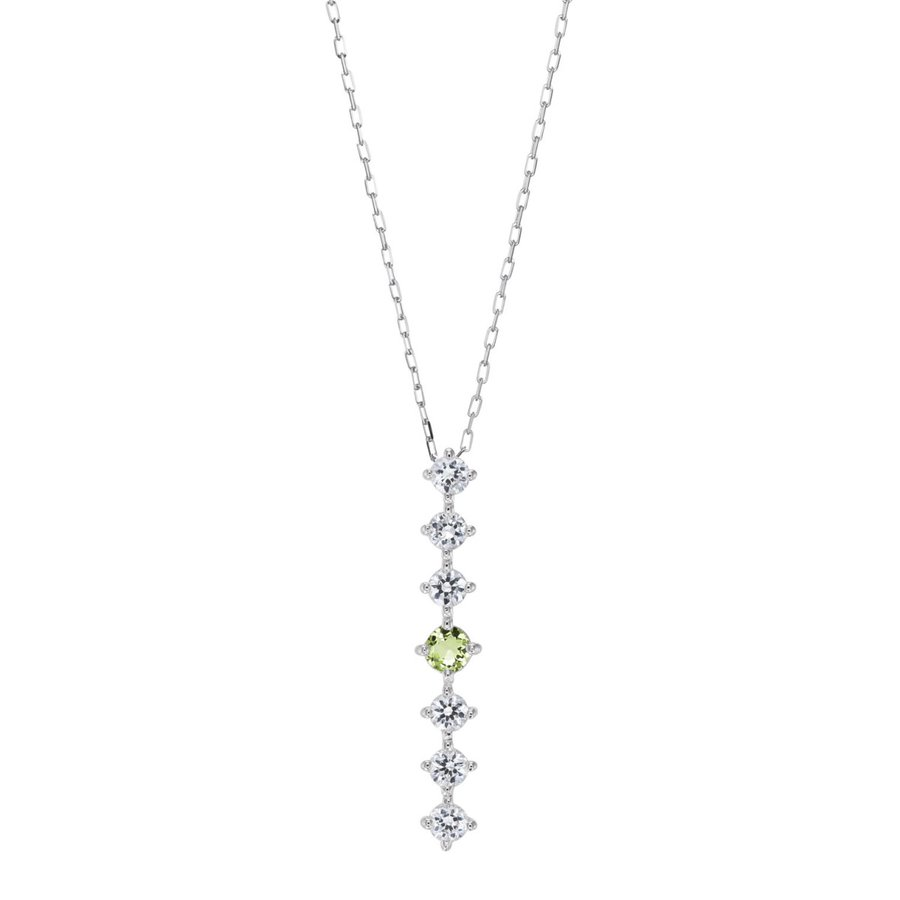 シルバー製 ペリドット ダイヤモンド 0.24ct ペンダント ネックレス 8月誕生石 シンプル ストレートライン jewelrycraft-aqua 08