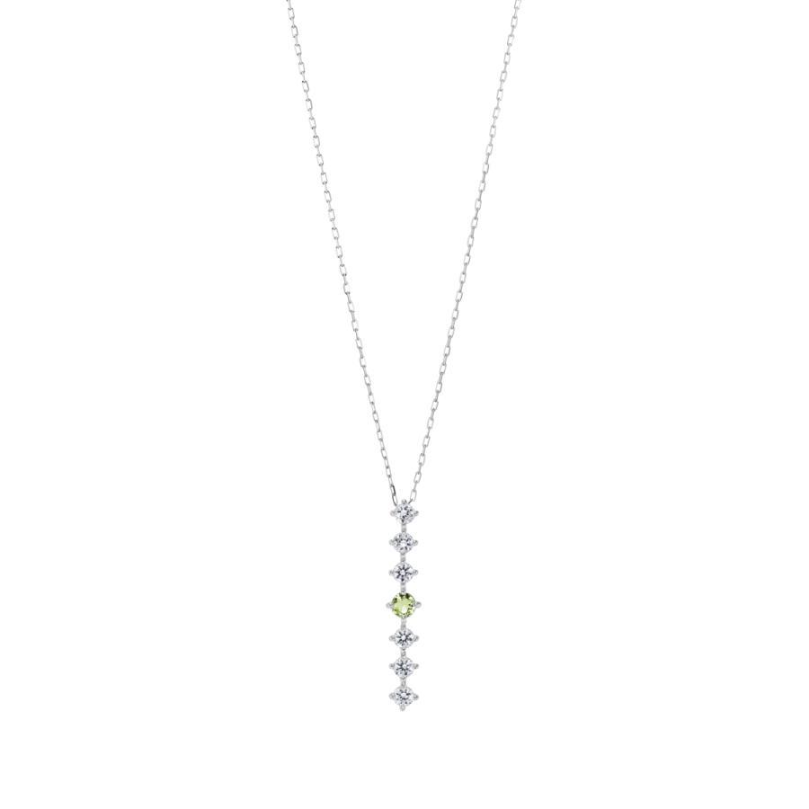 シルバー製 ペリドット ダイヤモンド 0.24ct ペンダント ネックレス 8月誕生石 シンプル ストレートライン jewelrycraft-aqua 09