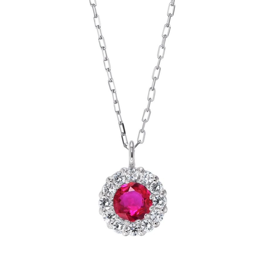 シルバー製 ルビー+ダイヤ 0.08ct ペンダント ネックレス 7月誕生石 jewelrycraft-aqua 08