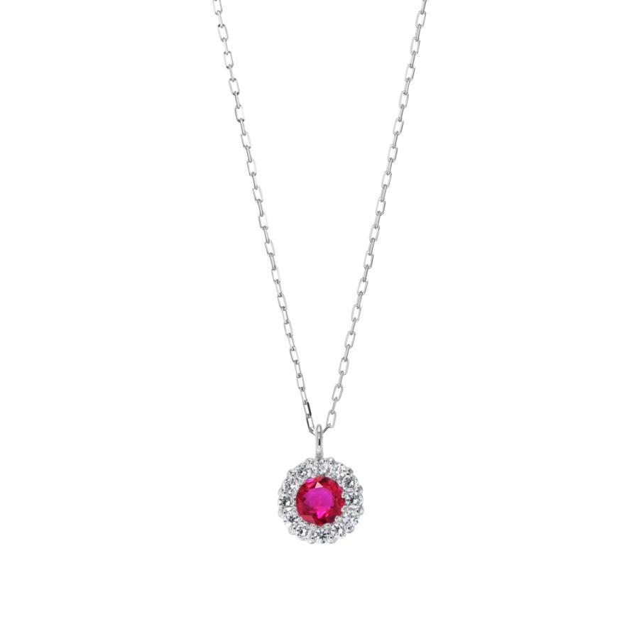 シルバー製 ルビー+ダイヤ 0.08ct ペンダント ネックレス 7月誕生石 jewelrycraft-aqua 09