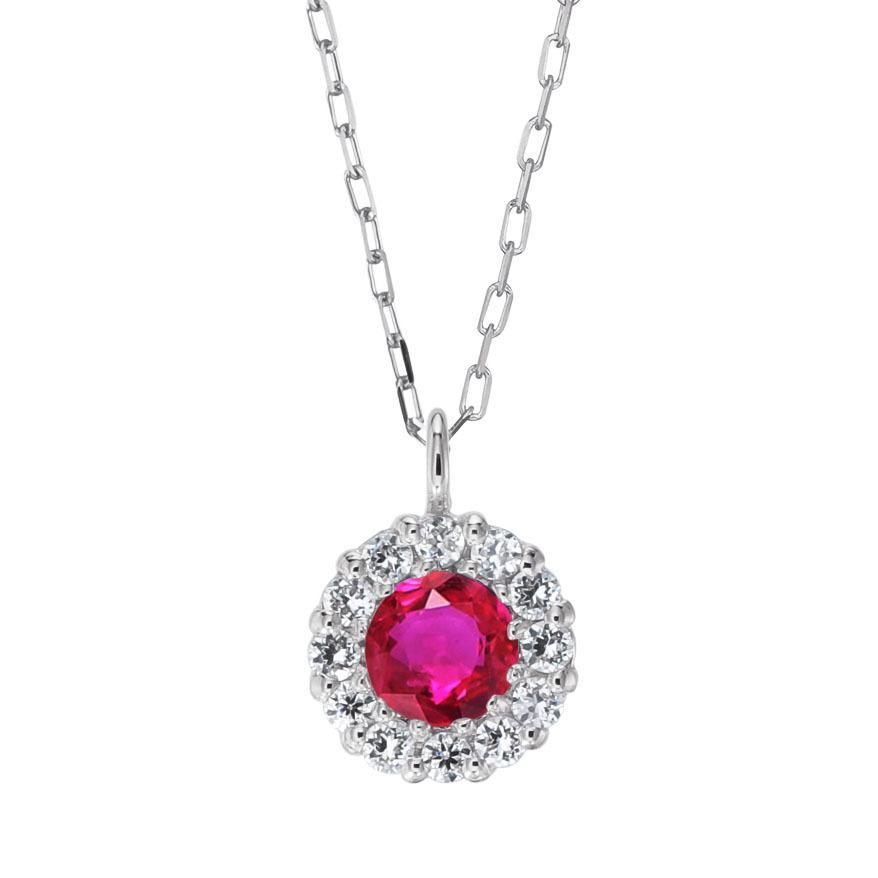 シルバー製 ルビー+ダイヤ 0.08ct ペンダント ネックレス 7月誕生石 jewelrycraft-aqua 10