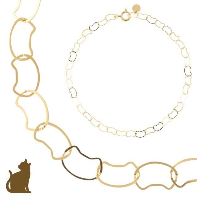 ブレスレット 10金 10k k10 レディース 猫 ネコ ねこ ゴールド チェーン イエローゴールド 華奢 シンプル|jewelryprecious