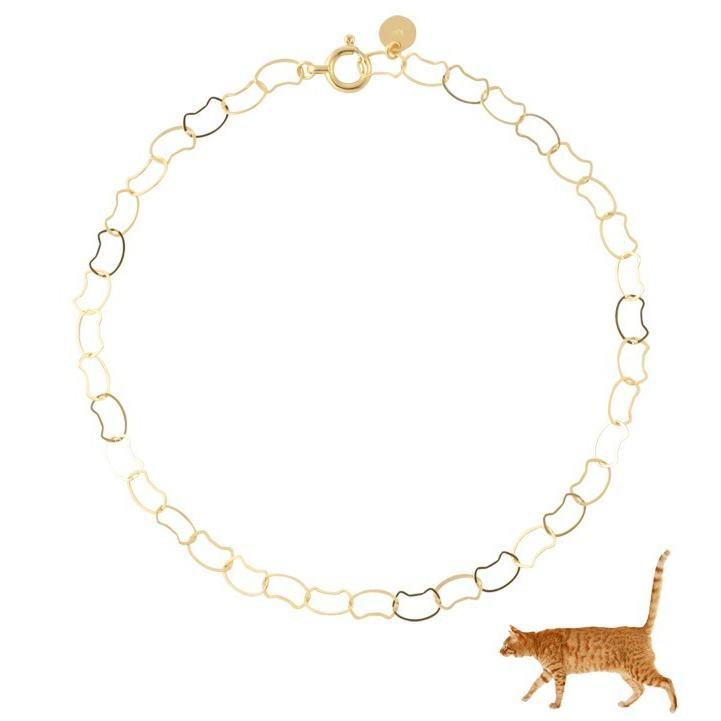 ブレスレット 10金 10k k10 レディース 猫 ネコ ねこ ゴールド チェーン イエローゴールド 華奢 シンプル|jewelryprecious|02