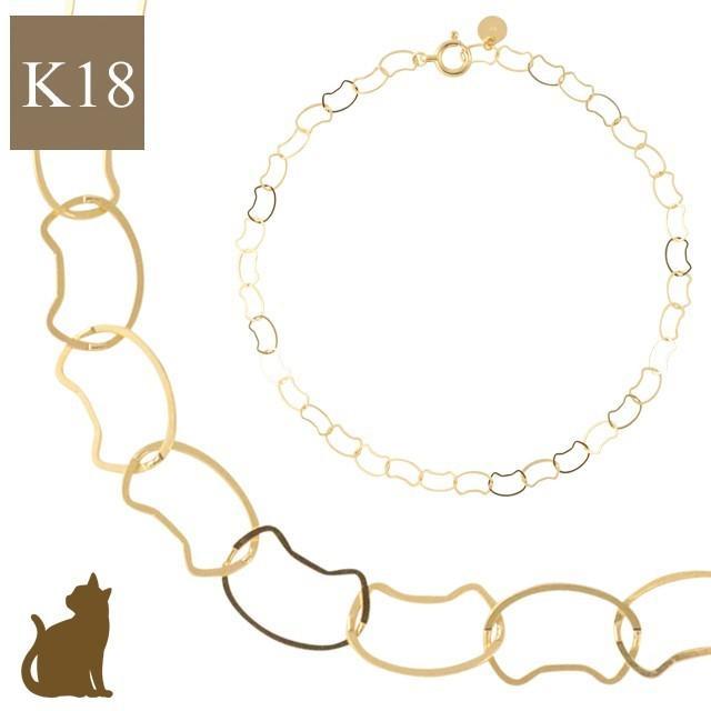 18金 ブレスレット 18k k18 猫 ネコ ねこ 猫好きさん レディース ゴールド イエローゴールド チェーン 華奢 シンプル jewelryprecious