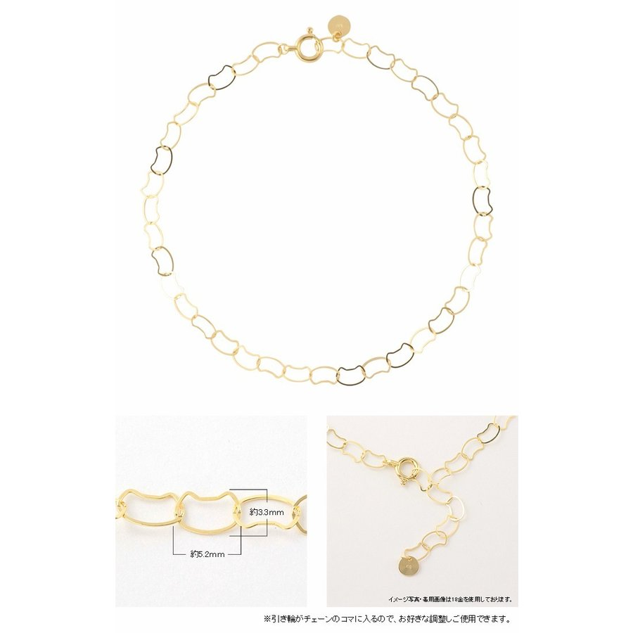 18金 ブレスレット 18k k18 猫 ネコ ねこ 猫好きさん レディース ゴールド イエローゴールド チェーン 華奢 シンプル jewelryprecious 08