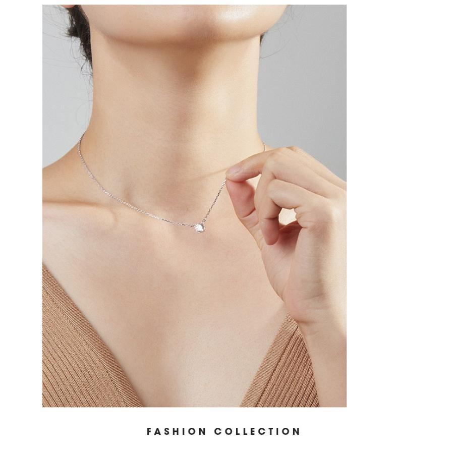ネックレス レディース スワロフスキー シンプル 一粒 本物 万能 シルバーS925 金属アレルギー対応 jewelrysanmi 17