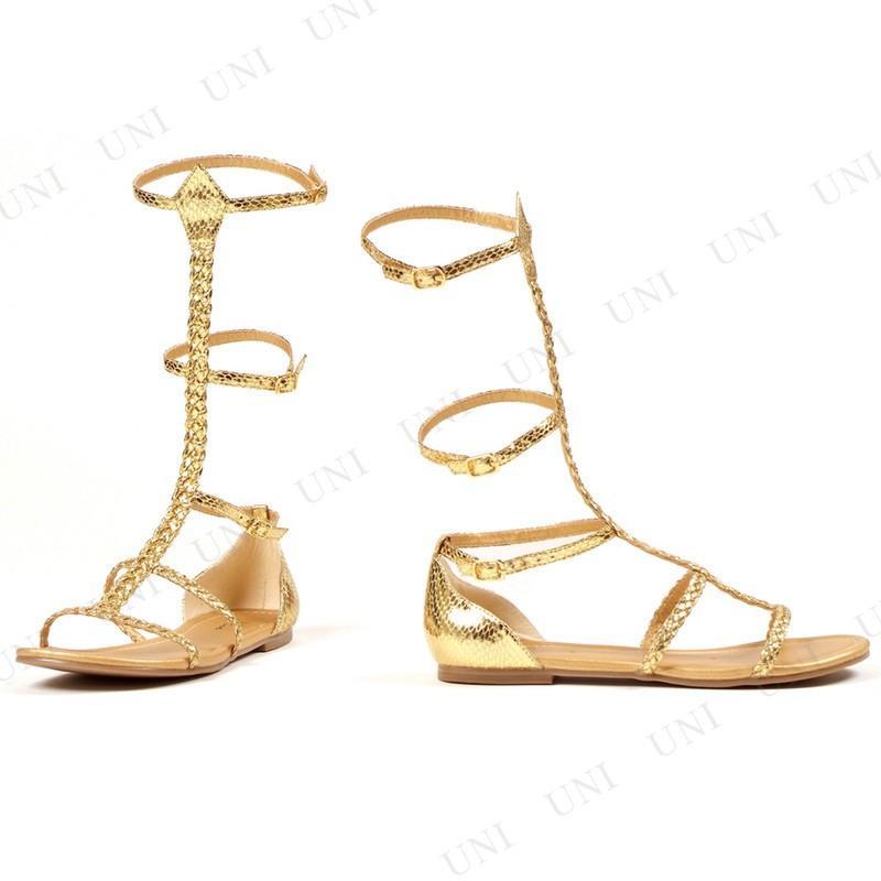 ゴールドグラディエーターサンダル 24cm コスプレ 衣装 ハロウィン 大人用 靴 シューズ