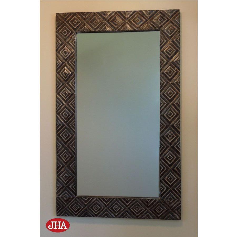 JHAアンティークミラー (デラックス) ウッディ・モダン・木彫りミラー(ヴィラ)W600×H1000(ブラック&ホワイト)壁掛け鏡 ウォールミラー バリ島 洗面 トイレ