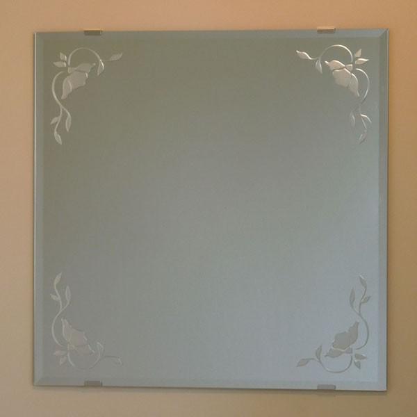 洗面鏡 化粧鏡 JHAデザインミラー バラ3 バラ3 W600×H600(面取り) ビス用 エッチングミラー 玄関 洗面 トイレ オシャレ 店舗