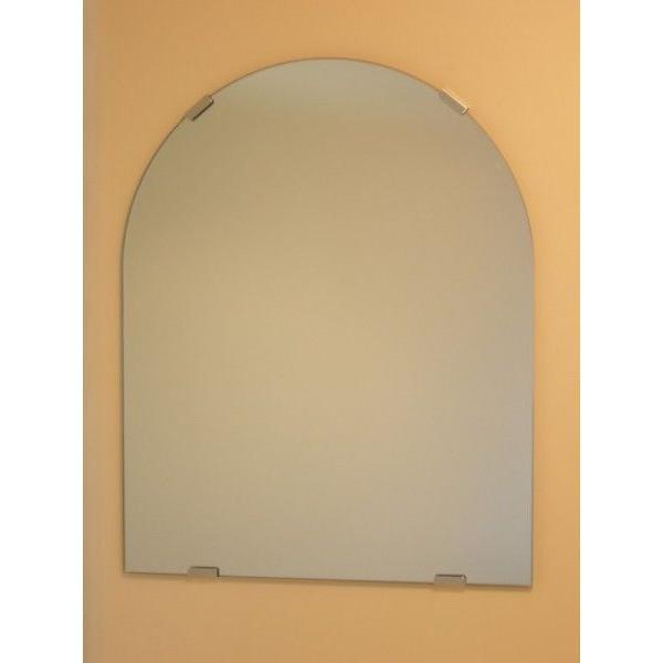 洗面鏡 化粧鏡 JHAデザインミラー (デラックス) 柄なし 半円W400×H500(通常品) ビス用 玄関 洗面 トイレ オシャレ 店舗