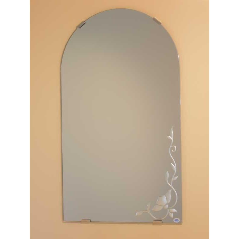 洗面鏡 化粧鏡 JHAデザインミラー JHAデザインミラー バラ1 半円W400×H700 ビス用 玄関 洗面 トイレ オシャレ 店舗