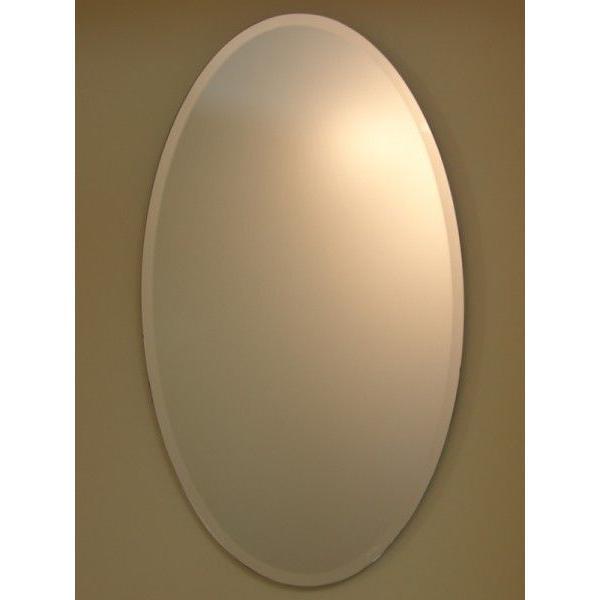 洗面鏡 化粧鏡 JHAインテリアミラー (デラックス) 柄なし (オーバル)楕円W400×H700(面取り:15ミリ幅) 飛散防止・壁掛け用 飛散防止・壁掛け用 玄関 洗面 トイレ オシャレ 店舗