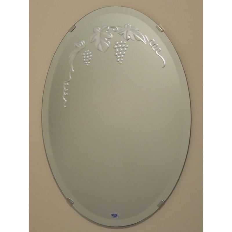 JHAデザイン風水ミラー ブドウ2 楕円W350×H500(面取り) ビス用 EM-D5S-M (風呂場は不可) 洗面鏡 化粧鏡 化粧鏡 化粧鏡 オーバル 玄関 洗面 トイレ オシャレ 店舗 dd2