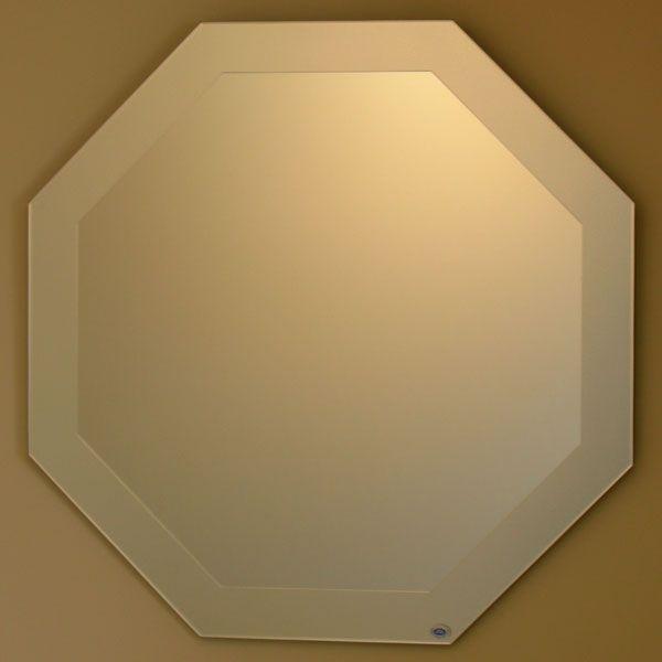 八角鏡 八角鏡 壁掛け鏡 ウォールミラー JHAデザイン風水ミラー シンプル1 八角形W600×H600 飛散防止・壁掛け用 玄関 洗面 トイレ オシャレ 店舗