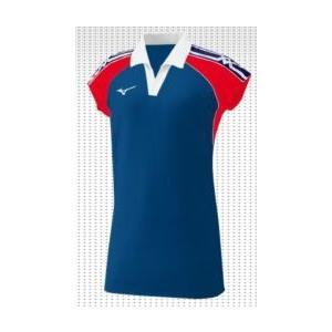 ミズノスペクトラ受注生産 キャップスリーブゲームシャツ(レディス)合わせ衿 テクノスパークストレッチ2素材 バレーボールウエア  V2JS8H11