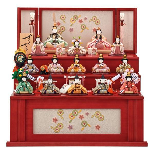 ラウンド  木目込み 雛人形 三段飾り 一秀 コンパクト ひな人形 十五人飾り-季節玩具