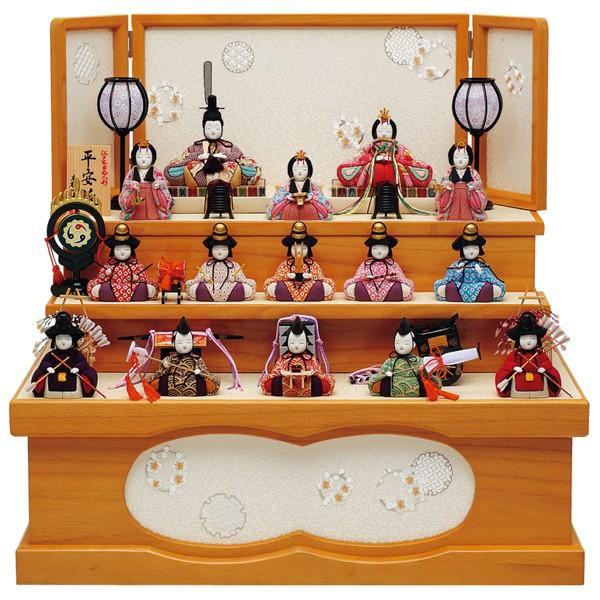 入荷中 雛人形 ひな人形 木目込み 十五人飾り 収納飾り 一秀 三段飾り コンパクト-季節玩具