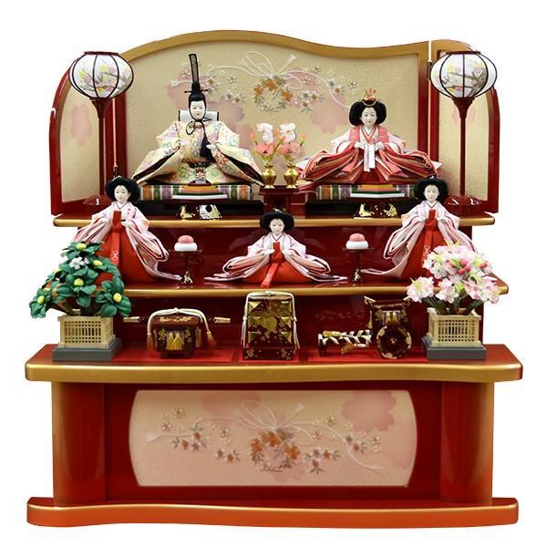 【送料0円】 ひな人形 三段飾り 五人飾り 雛人形-季節玩具