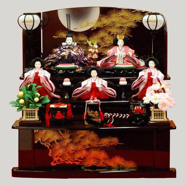 雛人形 収納飾り 3段飾り 5人飾り ミニ 五人