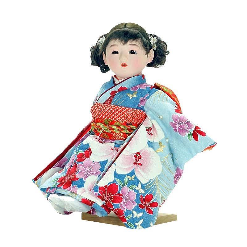 市松人形 抱き人形 おしゃれで可愛いお顔の 童人形 座り台座付き 13号 瞳 062