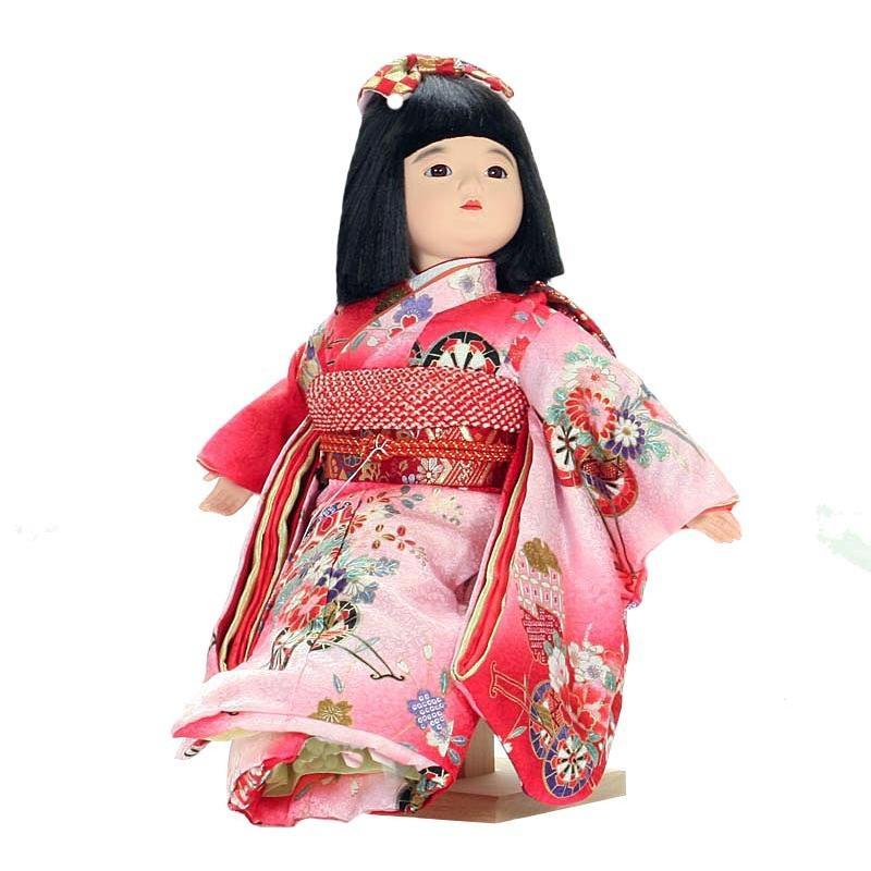 市松人形 抱き人形 おしゃれで可愛いお顔の 童人形 座り台座付き 10号 遊 112