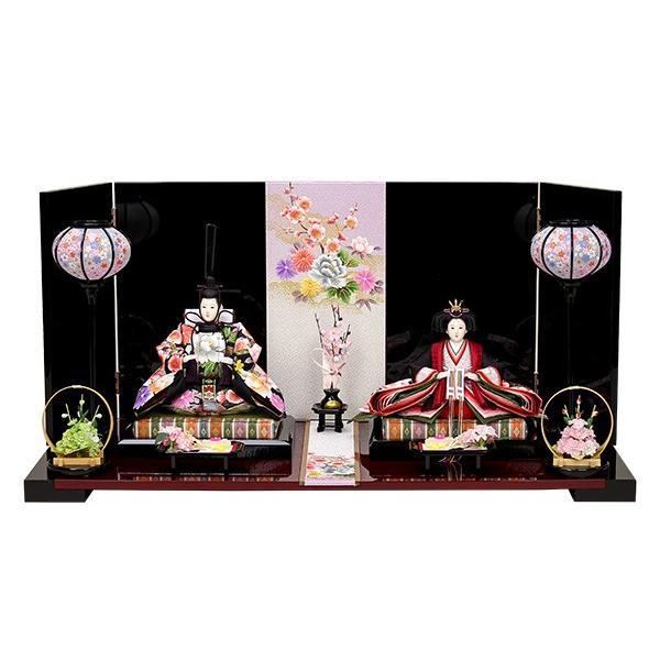 雛人形 伝統工芸 打掛衣装使用 ひな人形 お雛様 初節句飾り お祝い 親王飾り 2人 平飾り コンパクト 46t