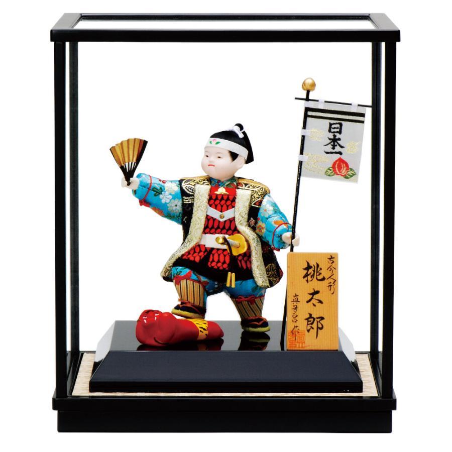 五月人形 真多呂人形作 木目込み 大将飾り 子供大将 ケース飾り 桃太郎ケース付 3523