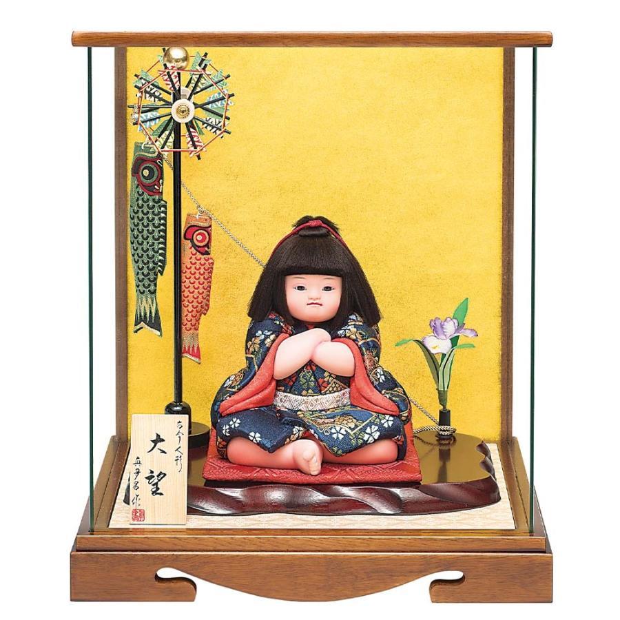 五月人形 真多呂人形作 木目込み 大将飾り 子供大将 ケース飾り 大望ケース付 鯉のぼり付き 3555