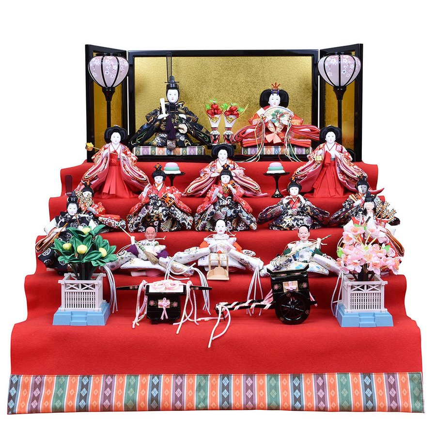 雛人形 五段飾り ひな人形 15人飾り ミニ段飾り 十五人5段飾り コンパクト ひな祭り飾り お雛様