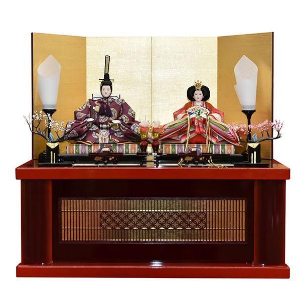雛人形 コンパクト 収納飾り 紫 ひな人形 親王飾り 平飾り お雛様 初節句飾り JIN雛匠シリーズ お祝い おしゃれ