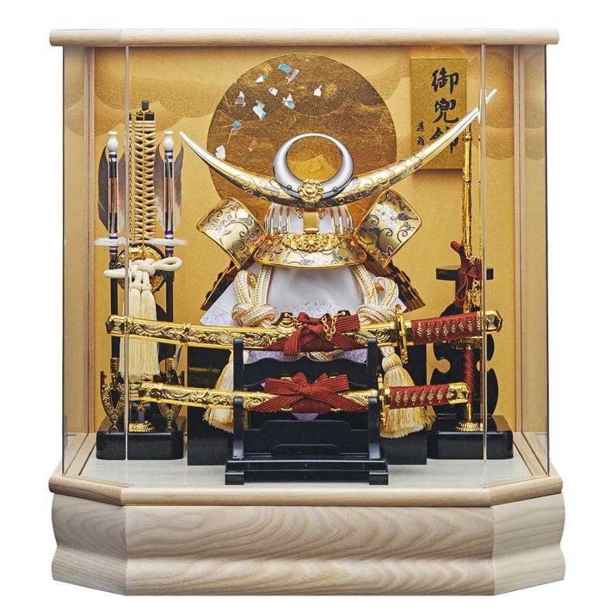 五月人形 上杉謙信 ケース飾り 兜飾り 六角 日輪 205-725 金色 ゴールド 白色 ホワイト アクリルケース オルゴール付き かぶと 5月人形 おしゃれ コンパクト 202