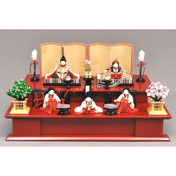 激安の 雛人形/ひな人形 幸一光 ひいな朱塗り二段飾り五人飾り8120 木目込み-季節玩具