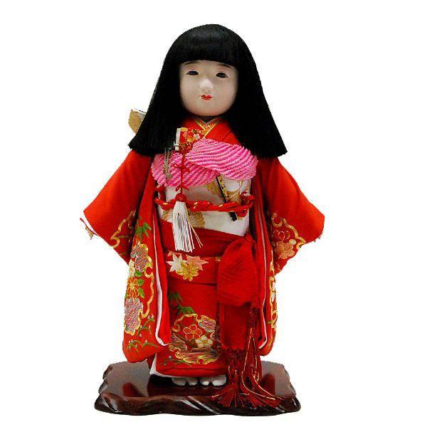 市松人形13号 駒 正絹 刺繍赤 雪輪 女の子 いちまつ人形