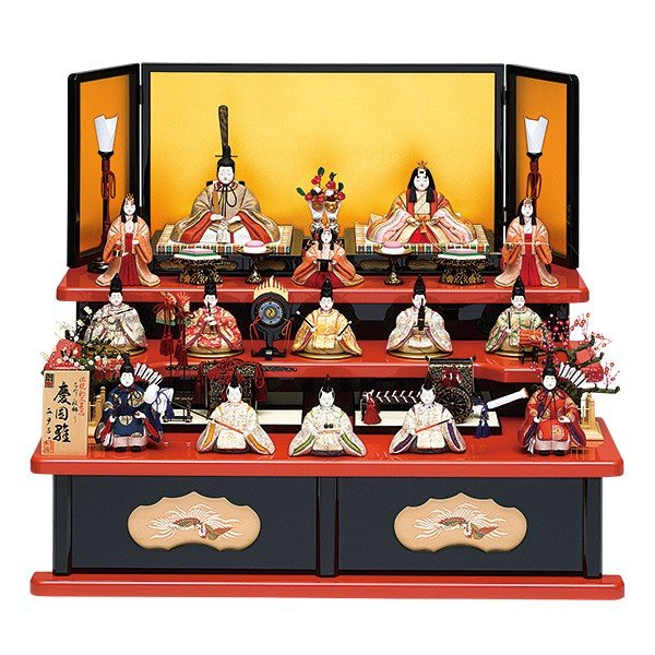 雛人形 真多呂 木目込み ひな人形 慶園雛セット 15人飾り 十五人飾り 3段飾り 三段飾り