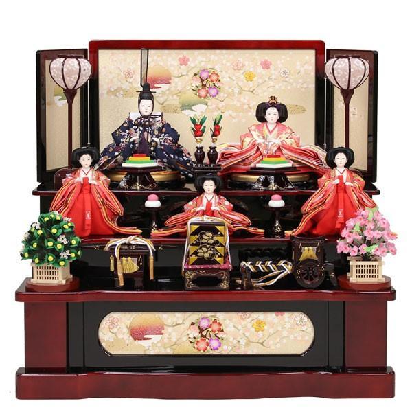 収納式 雛人形 3段飾り 5人飾りひな人形 お雛様 初節句飾り お祝い コンパクト 46t