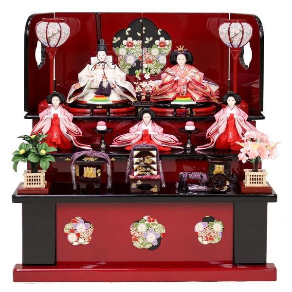 雛人形 収納飾り 3段飾り ひな人形 5人飾り 三段飾り お雛様 初節句飾り お祝い コンパクト ミニ 46t