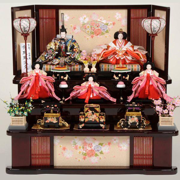 2019高い素材  雛人形 43t 三段飾り 五人飾り ひな人形-季節玩具
