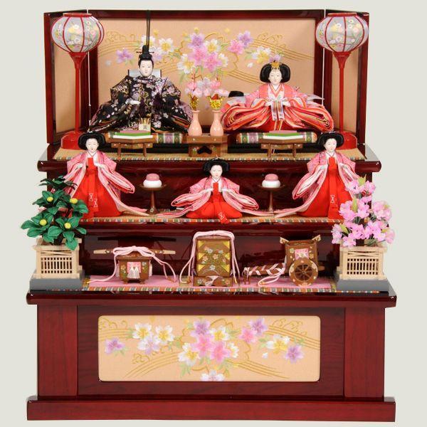 最新 雛人形 43t 収納 三段飾り 五人飾り ひな人形-季節玩具
