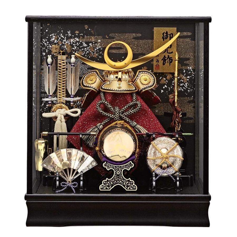 五月人形 上杉謙信 ガラスケース飾り コンパクト ケース入り 金色かぶとセット 初節句飾りセット