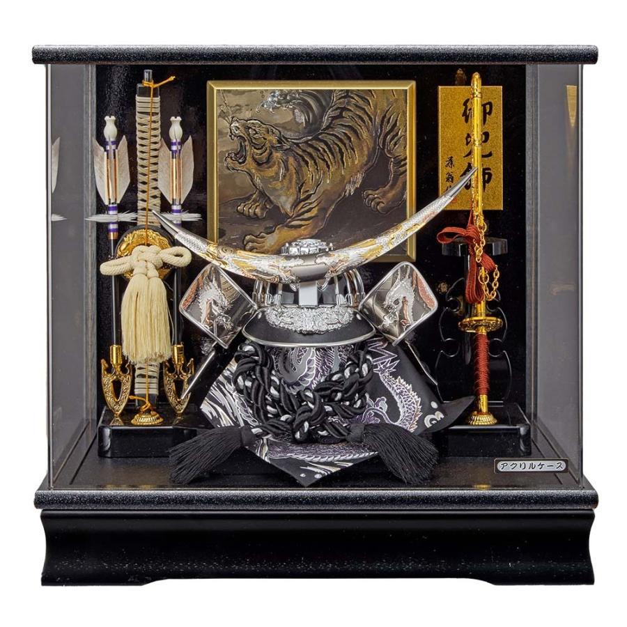 五月人形 兜 伊達政宗 アクリルケース飾り コンパクト ケース入り 銀色 シルバー かぶとセット