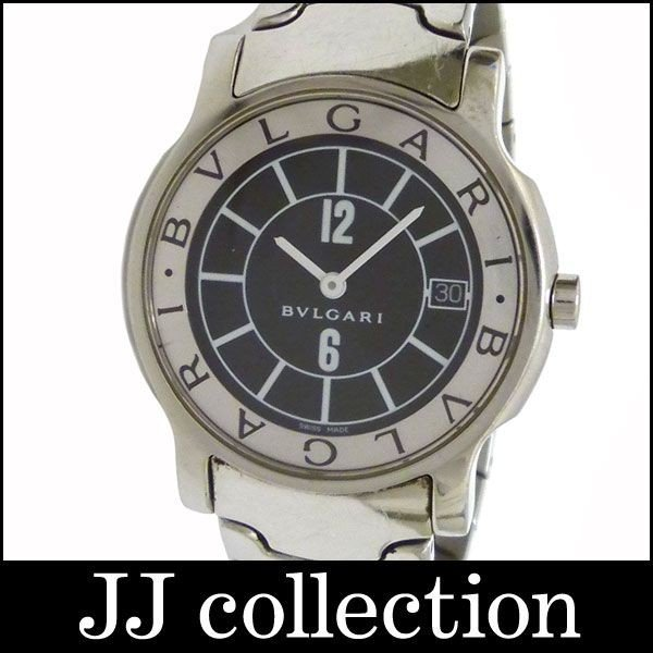 人気定番 BVLGARI ブルガリ メンズ腕時計 ソロテンポ ST35S SS クオーツ ブラック文字盤, An-Zee 0b9ffbac