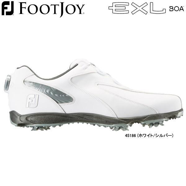 【20年継続モデル】 フットジョイ ゴルフシューズ ニューイーエックスエル スパイク ボア (Men's) 45186 (ホワイト/シルバー) 横幅(ウィズ)/W FOOTJOY
